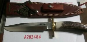RANDALL KNIFE MODEL 14 ATTACK STAINLESS STAG SCALLOP LUGGED BUTTON SHEATH EXTRAS