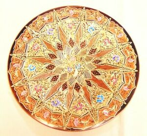 TURKISH ELSAN TICARET INTRICATE HAND ENGRAVED LARGE COPPER DECORATIVE WALL TRAY