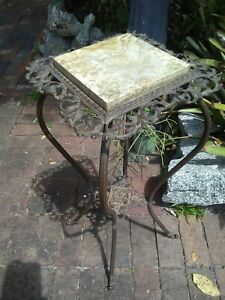 1800's VICTORIAN PLANT STAND , IRON AND BRASS, GREAT PATINA, MARBLE TOP