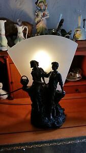 """WIDDOP BINGHAM ~ Tiffany Style """"Pair of Young Lovers"""" Table Lamp ~ MIB"""