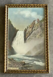 Vintage 1928 Yellowstone Falls Hand Tinted Photograph by AE Raymond Like Haynes