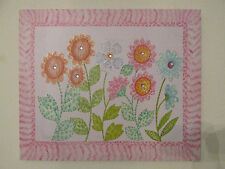 24x20 Pink Floral Wall Hanging/Canvas Art Picture Rhinestone/Glitter Flowers