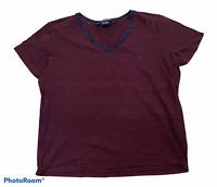 Woman's RALPH LAUREN SPORT Burgundy Shirt Short Sleeve 100% Cotton Size XL