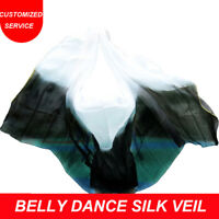 100% Silk Stage Performance Dance Belly Dance Veil Black And White Color