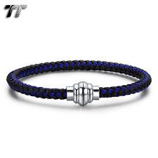 TT Black/Blue 316L Stainless Steel Magnet Buckle Bracelet (BR228) NEW