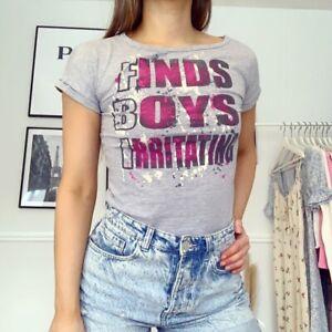 Tammy Girl FBI Slogan Finds Boys Irritating y2k Grey T-shirt Top