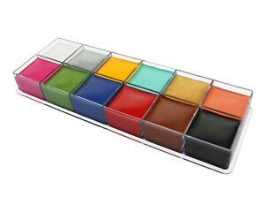Professional Waterproof Face Paint 12 Colours Palette Set Oil Based