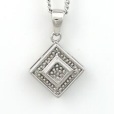 Square pendant set with Diamonds in a pave setting - Sterling Silver