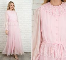 Vintage 70s Pink Victorian Boho Dress Peplum Lace Sheer Maxi Pleated Small S