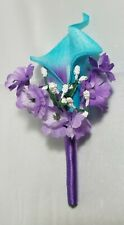 Turquoise Purple Calla Lily Corsage or Boutonniere