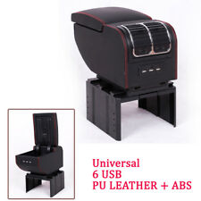 Universal For Car SUV 6 USB Charger Central Container Armrest Box Storage Case