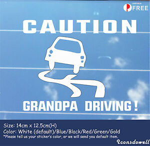 Grandpa Driving! Reflective Funny Warning Car Sticker Best Gifts Presents