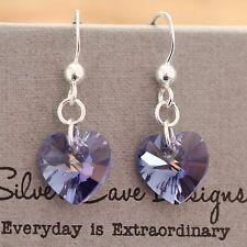 Sterling Silver Earrings Swarovski Elements Crystal Heart Tanzanite Purple AB