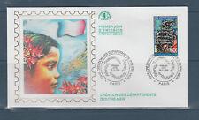 enveloppe 1er jour  création des départements d' Outre Mer  75  Paris   1996