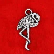 8 x Tibetan Silver Alice in Wonderland Flamingo Bird Charm Pendant Beads Making