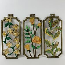 Lot Of 3 Mid-Century Sexton Cast Aluminum Flowered Wall Hanging Flowers Roses Et