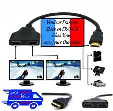 Prise HDMI Mâle vers Double HDMI Femelle Adaptateur Câble Connectique Switch