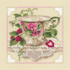 """Raspberry Tea Counted Cross Stitch Kit-8""""X8"""" 14 Count"""