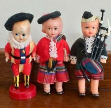 "3 Vintage 4.5"" Celluloid Dolls: 2 Scottish c Kilts, one w/ Bagpipes plus 1 other"