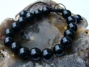 Mens Bracelets Natural Gemstone Black Obsidian bracelet 12mm  beads