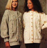 "Ladies Woman""Family Tree"" Aran Longline Jacket to Knit   32"" - 38"""