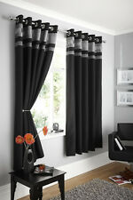 FULLY LINED PAIR EYELET RING TOP READY MADE CURTAINS BLACK SILVER FAUX SILK