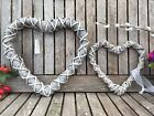 Grey Woven Wicker Hanging Rustic Heart Wreaths, Wedding, Easter, Christmas,Home