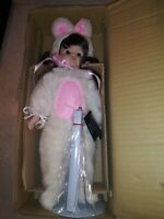 "HOUSE OF LLOYD Porcelain15"" Doll Brunette Girl in Easter Bunny Costume"