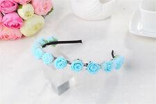 Boho Rose Flower Wedding Garland Crown Hair Band Foam Headband Headpiece
