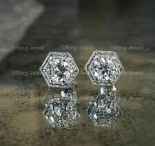 Moissanite Vintage Stud Earrings 3.00Ct Round Brilliant Cut Solid 14K White Gold
