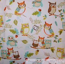 BonEful FABRIC FQ Cotton Quilt Country OWL Bird Brown Tree Green Leaf Fall Acorn
