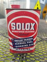 SOLOX DENATURED ALCOHOL SOLVENT CAN SHELLAC THINNER oil can vintage