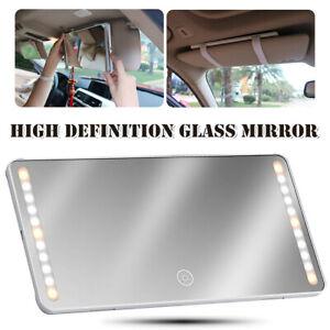 Universal Makeup Mirror LED Car Sun Visor Rearview HD Glass Fill-in Light Mirror
