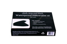 2 x Black Waterproof Pillow Cases Protect from Oil, Silicon and Waterbased Lube