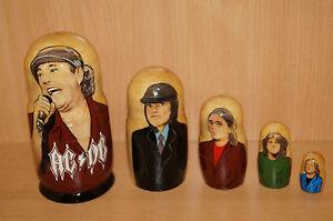 "AC DC AC/DC Angus McKinnon Young Matryoshka nesting russian doll stacking 5pc ""7"