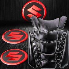 24PC Perforate Black Fuel Tank Pad+Chrome Red Suzuki Logo Fairing Emblem Sticker