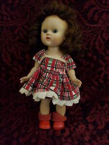 Vintage Vogue Ginny Walker Doll In Original Tagged Plaid Dress Adorable