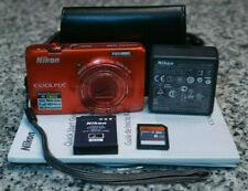 Nikon Coolpix S6300 16MP HD 1080p Red Camera 10x W/ Extras 16GB Tested FR/SHP