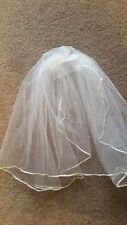 "Ivory 20"" Ribbon Edge Crystal Bridal Veil New"