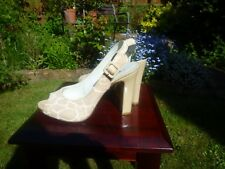 Nine West beige patent/ animal skin imitation heel sandals size 8.5 M ( UK 6)
