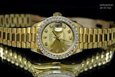 LADIES ROLEX DATEJUST PRESIDENT 18K GOLD 69178 QUICKSET DIAMOND DIAL&BEZEL