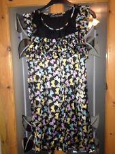Mela Loves London Swing Skater Dress Size 10 Mesh Black Bow Design Bow Frills