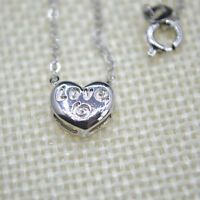 """Shiny 925 Sterling Silver Plt Cute Small Love Heart Pendant Necklace 18"""" Gift UK"""