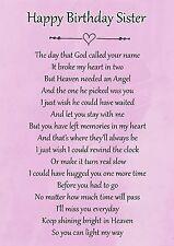 Happy Birthday Sister Memorial Graveside Poem Card & Free Ground Stake F118