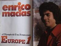 PUBLICITÉ 1974 EUROPE 1 ENRICO MACIAS A L'OLYMPIA - ADVERTISING