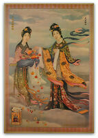 CHINESE PIN UP GIRL Cigarette Tobacco Ad Poster Vintage Style Art Print Goddess