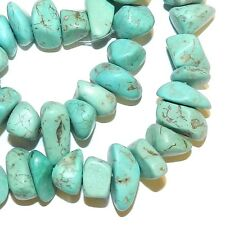NG2610sp Light Teal Blue-Green Turquoise 10-14mm Nugget Chip Magnesite Beads 15""
