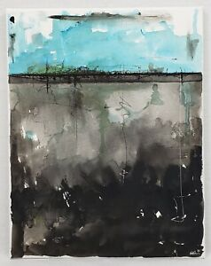 No.937 Original Abstract Modern Minimal Contemporary Ink Painting By K.A.Davis