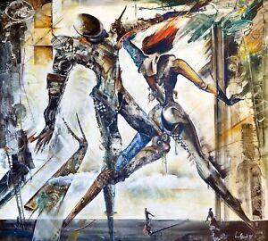 Vladimir Vitkovsky Minuet Emotional Figures Surrealism Oil Painting 50x58