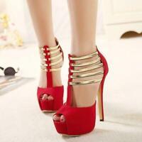 Sexy Womens Pumps Platform Peep Toe Stilettos High Heels Clubwear Shoes Sandals